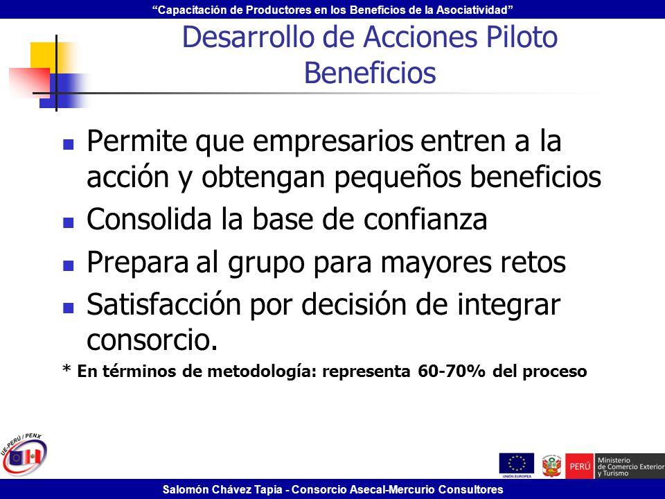 Desarrollo de Acciones Piloto Beneficios