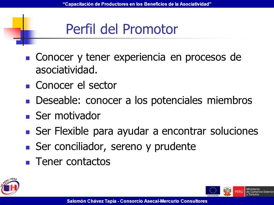 Perfil del Promotor Conocer y tener experiencia en procesos de asociatividad. Conocer el sector. Deseable: conocer a los potenciales miembros.