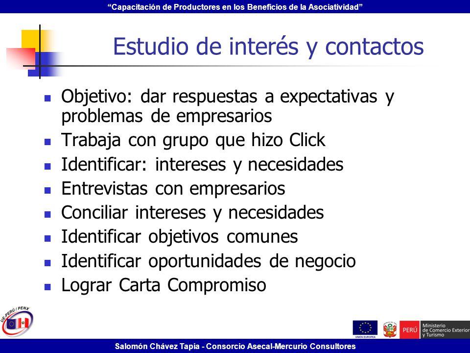 Estudio de interés y contactos