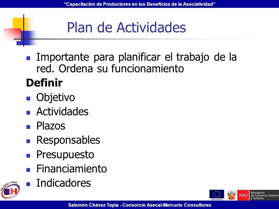 Plan de Actividades Importante para planificar el trabajo de la red. Ordena su funcionamiento. Definir.