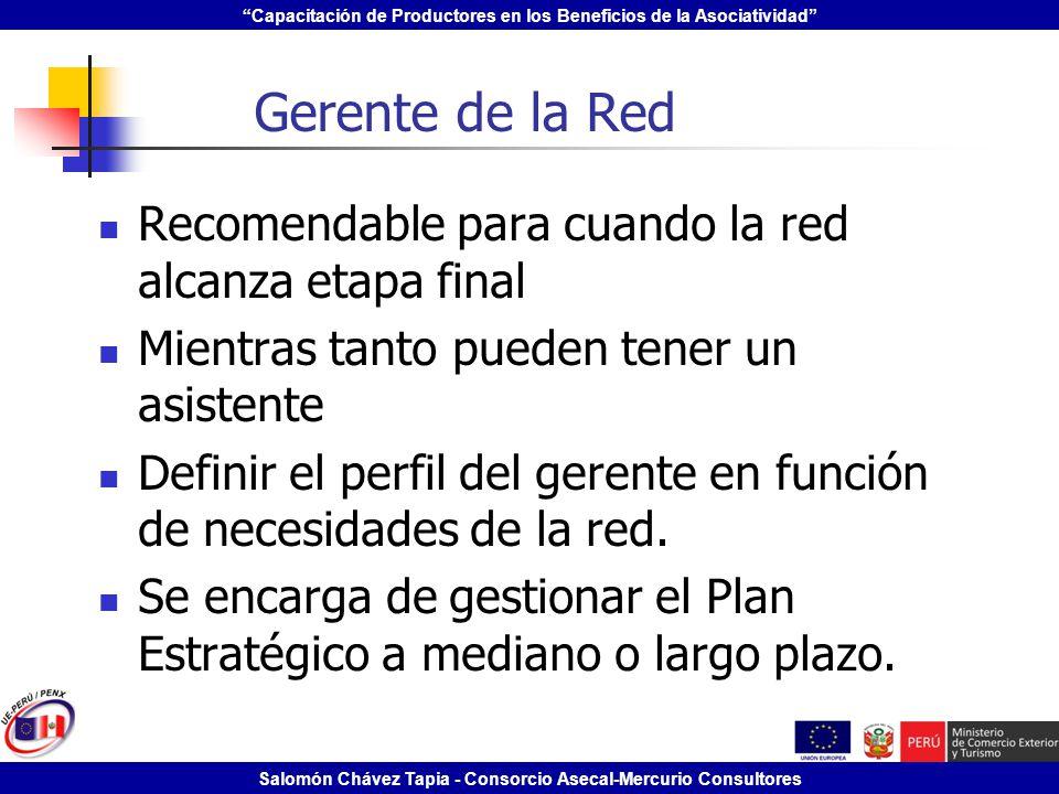 Gerente de la Red Recomendable para cuando la red alcanza etapa final