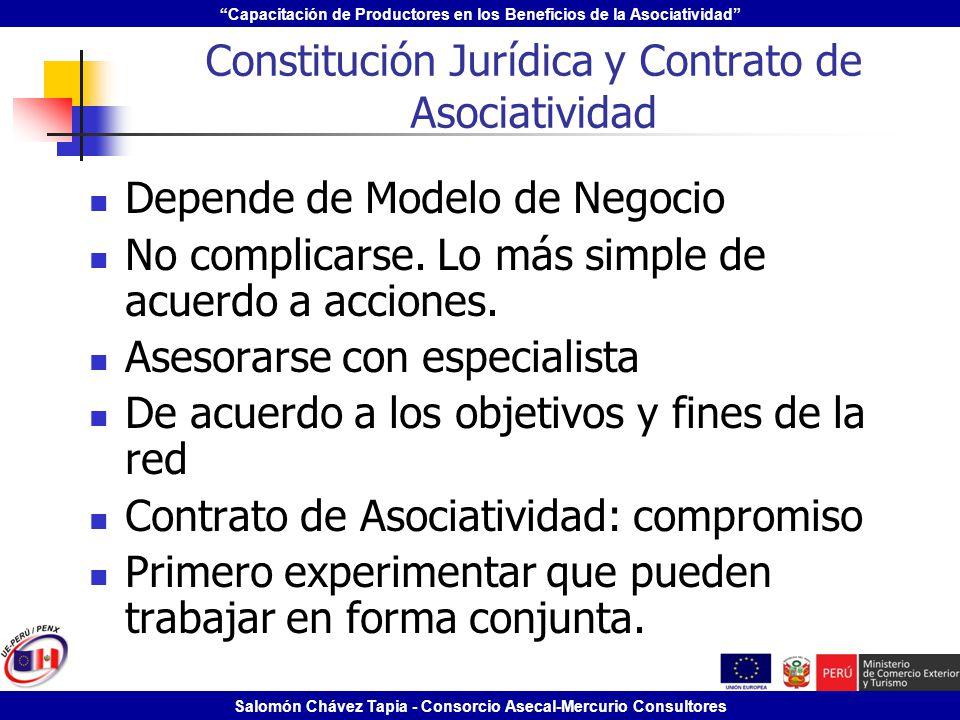 Constitución Jurídica y Contrato de Asociatividad