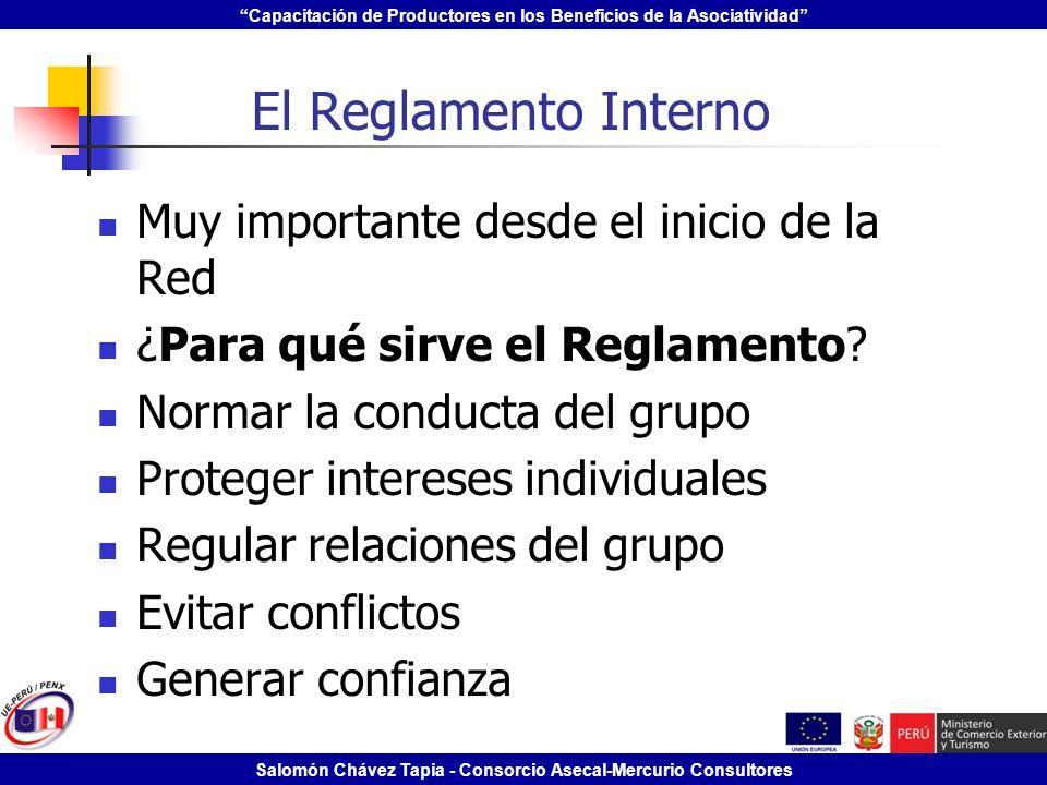 El Reglamento Interno Muy importante desde el inicio de la Red