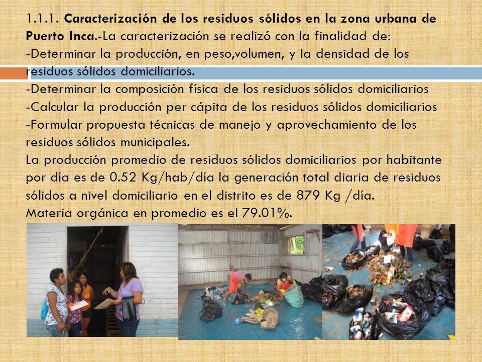 1.1.1. Caracterización de los residuos sólidos en la zona urbana de Puerto Inca.-La caracterización se realizó con la finalidad de: