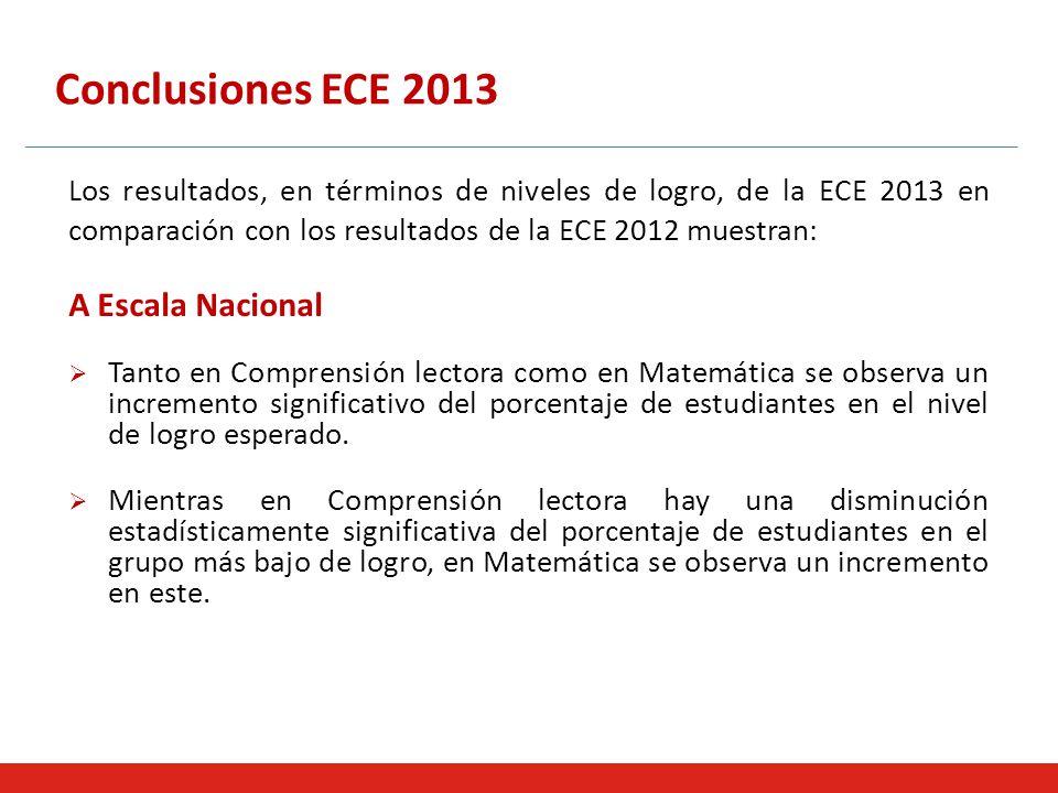 Conclusiones ECE 2013 A Escala Nacional