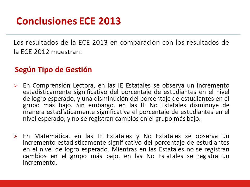 Conclusiones ECE 2013 Los resultados de la ECE 2013 en comparación con los resultados de la ECE 2012 muestran: