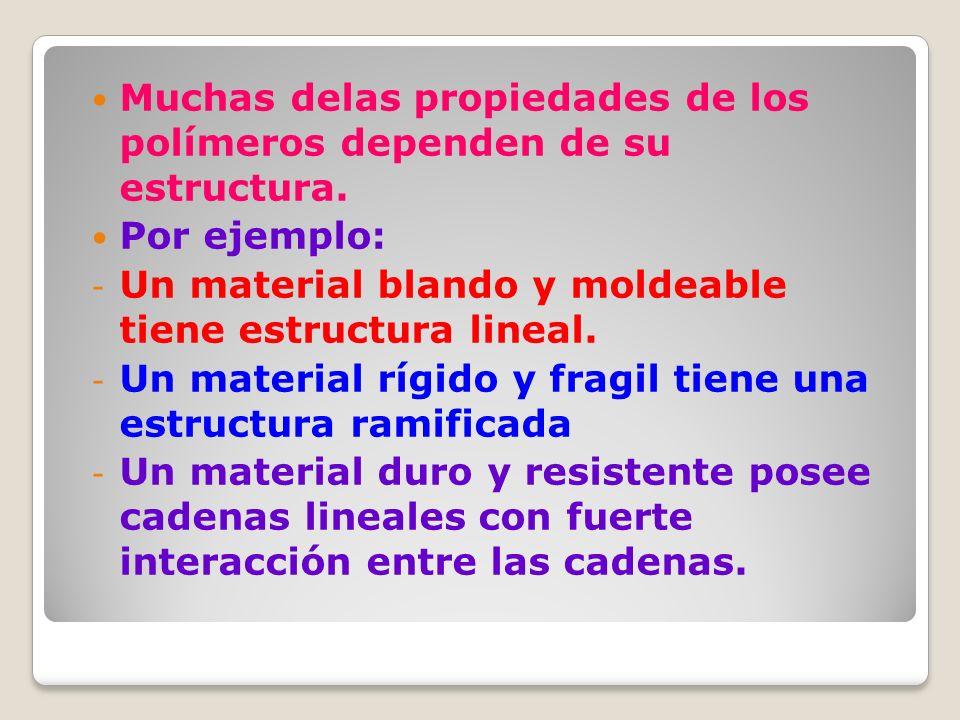 Muchas delas propiedades de los polímeros dependen de su estructura.