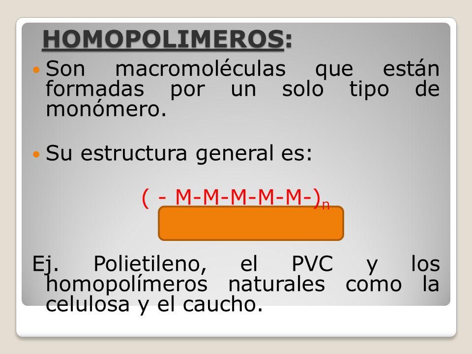 HOMOPOLIMEROS:Son macromoléculas que están formadas por un solo tipo de monómero. Su estructura general es: