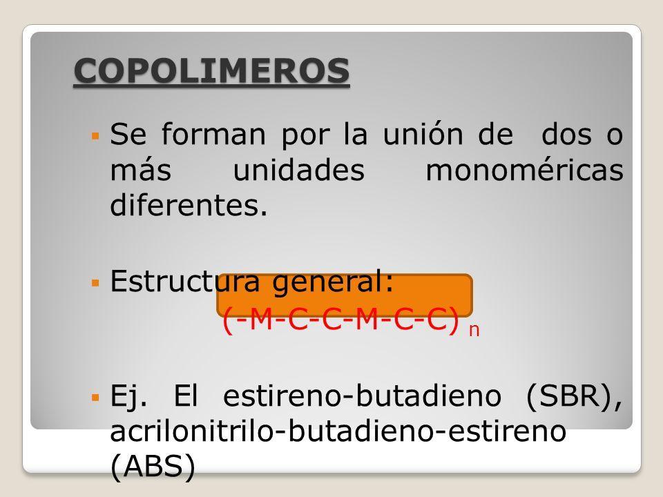 COPOLIMEROS Se forman por la unión de dos o más unidades monoméricas diferentes. Estructura general: