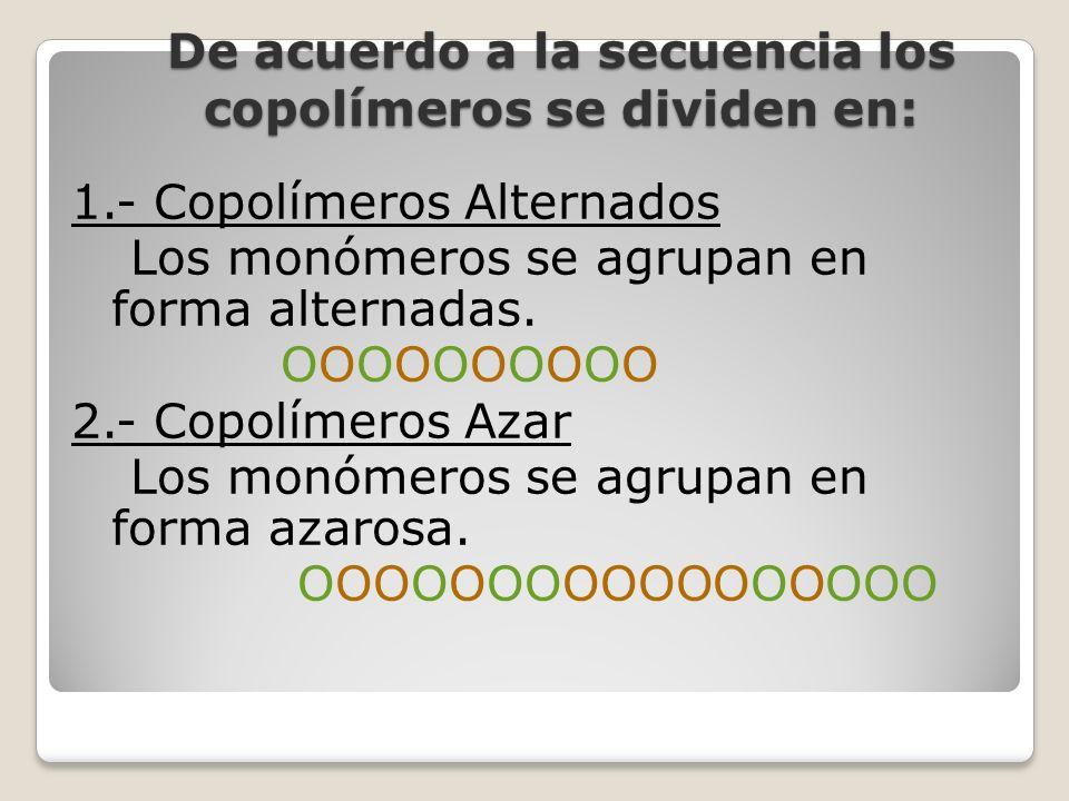 De acuerdo a la secuencia los copolímeros se dividen en: