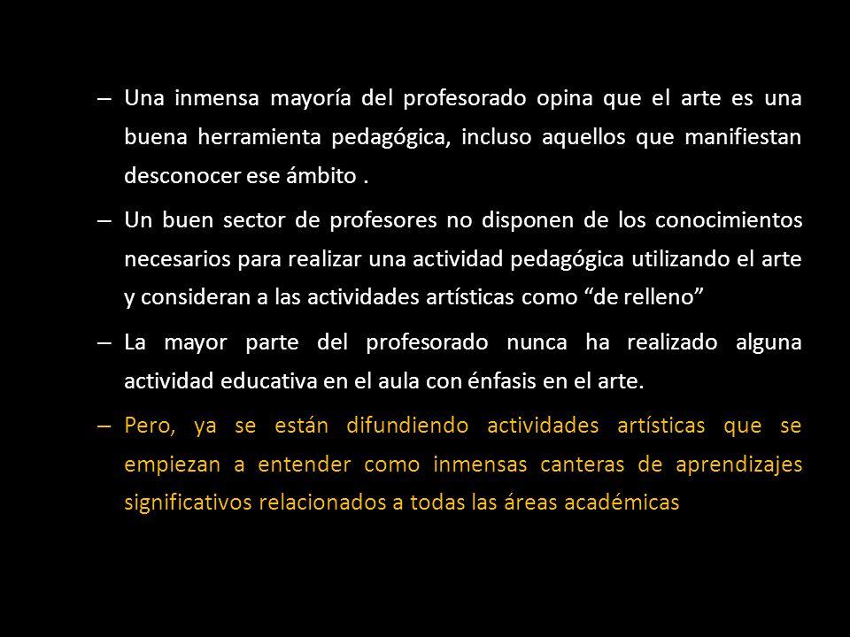 Una inmensa mayoría del profesorado opina que el arte es una buena herramienta pedagógica, incluso aquellos que manifiestan desconocer ese ámbito .