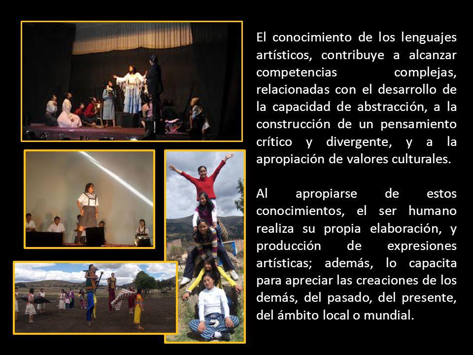 El conocimiento de los lenguajes artísticos, contribuye a alcanzar competencias complejas, relacionadas con el desarrollo de la capacidad de abstracción, a la construcción de un pensamiento crítico y divergente, y a la apropiación de valores culturales.