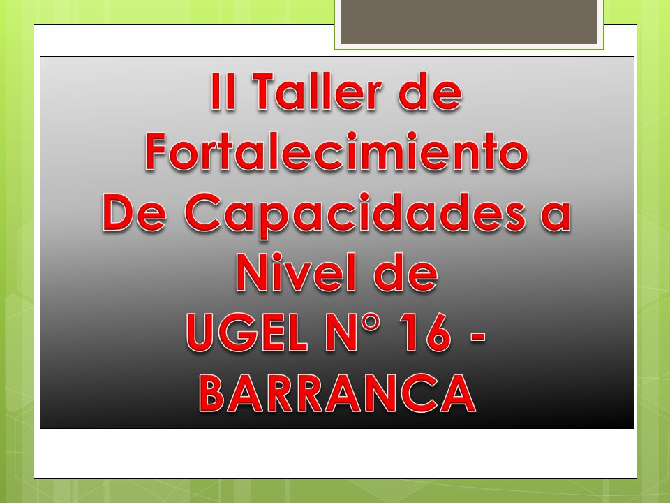 II Taller de Fortalecimiento De Capacidades a Nivel de