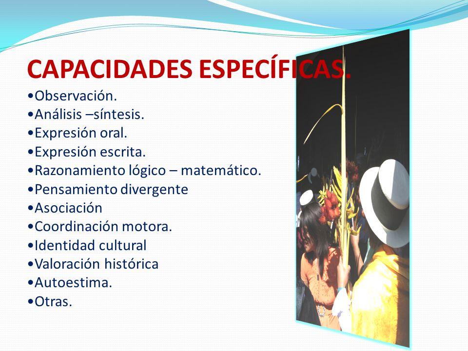 CAPACIDADES ESPECÍFICAS.