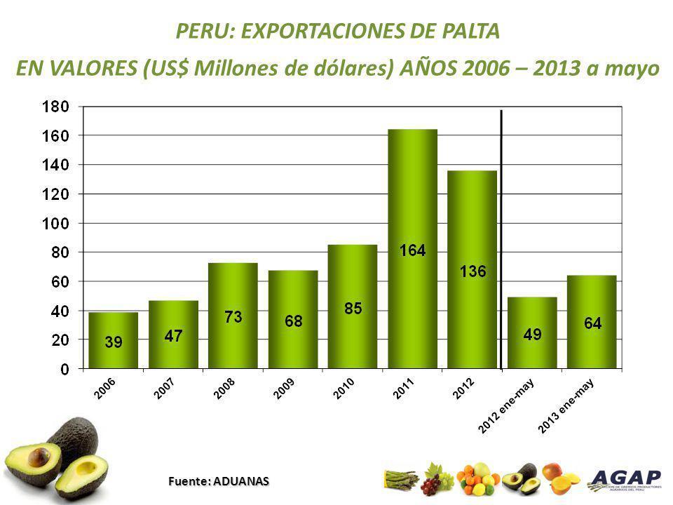 PERU: EXPORTACIONES DE PALTA