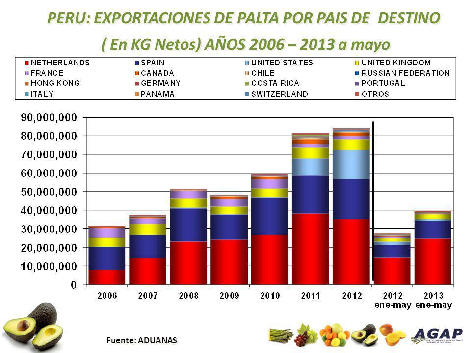 PERU: EXPORTACIONES DE PALTA POR PAIS DE DESTINO ( En KG Netos) AÑOS 2006 – 2013 a mayo