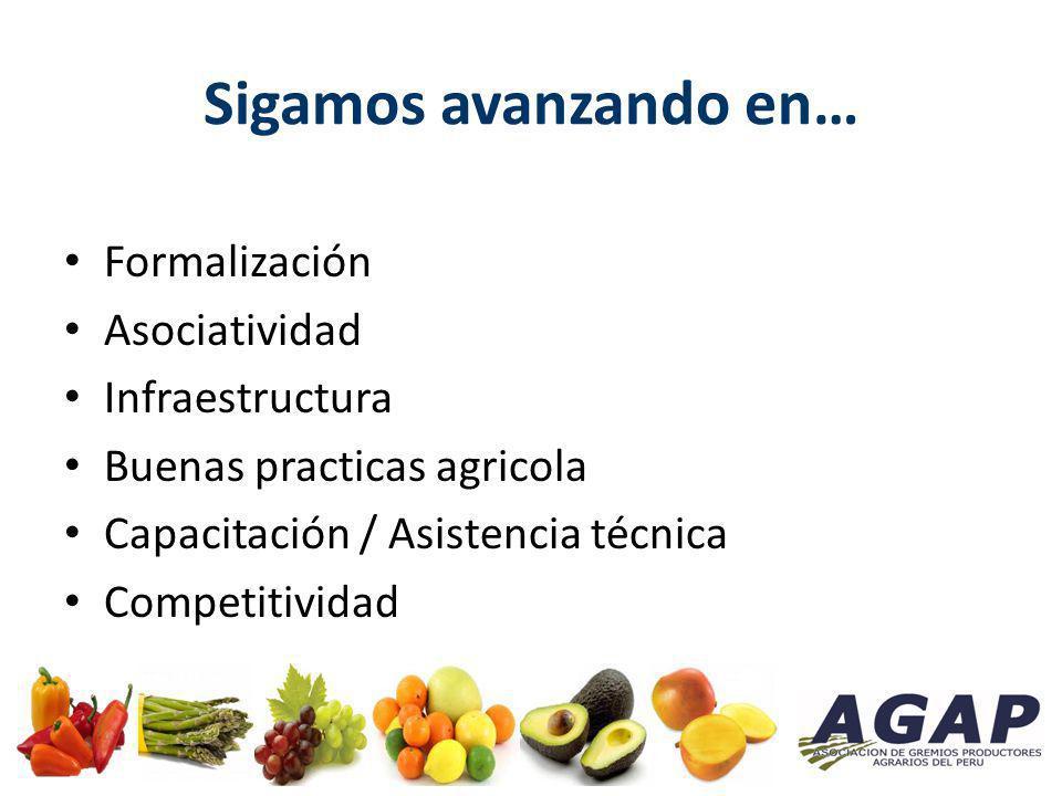 Sigamos avanzando en… Formalización Asociatividad Infraestructura