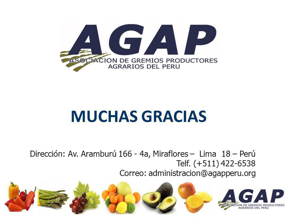 MUCHAS GRACIAS Dirección: Av. Aramburú 166 - 4a, Miraflores – Lima 18 – Perú. Telf. (+511) 422-6538.