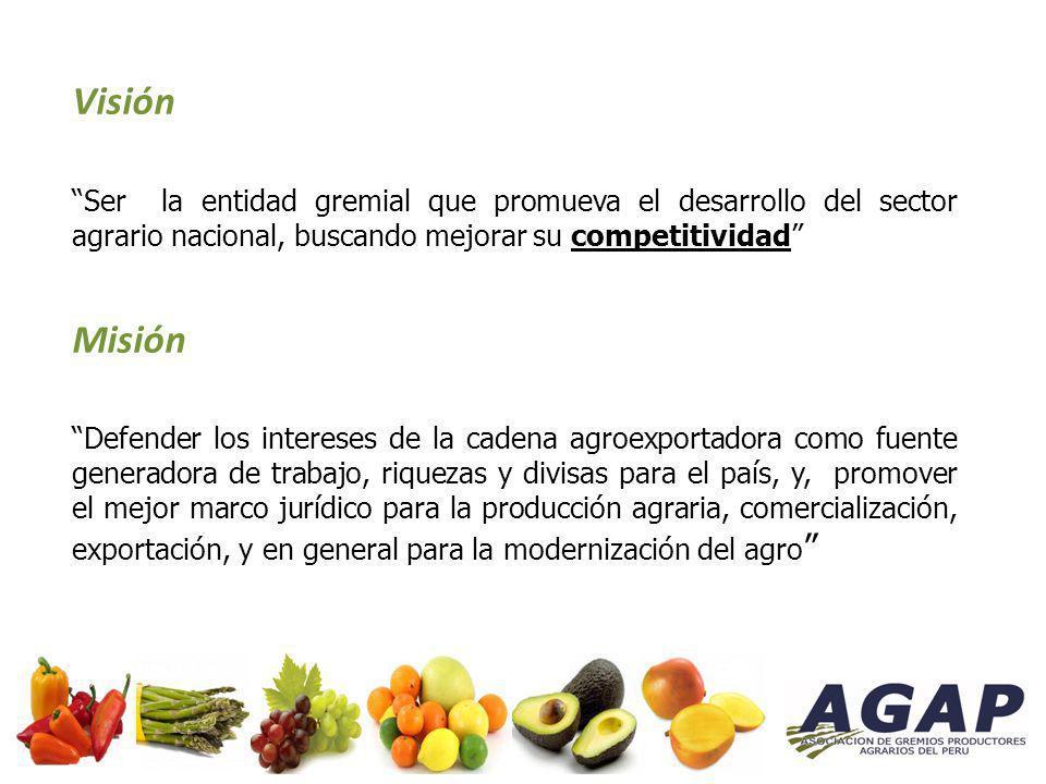 Visión Ser la entidad gremial que promueva el desarrollo del sector agrario nacional, buscando mejorar su competitividad