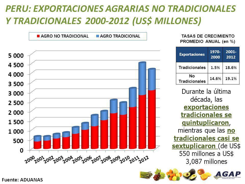 TASAS DE CRECIMIENTO PROMEDIO ANUAL (en %)