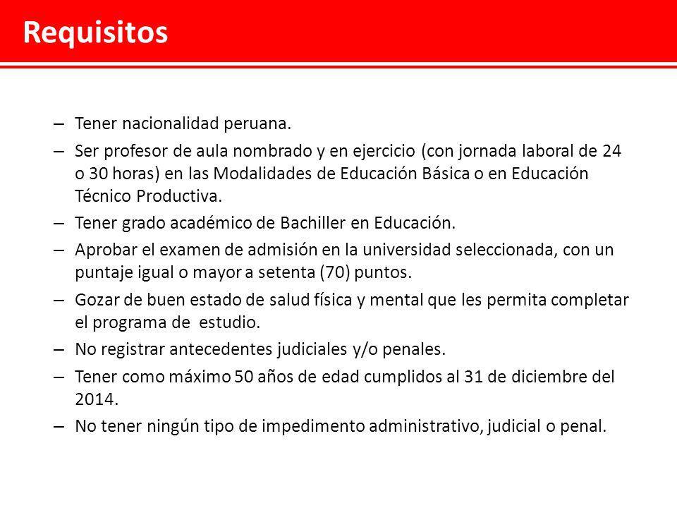 Requisitos Tener nacionalidad peruana.