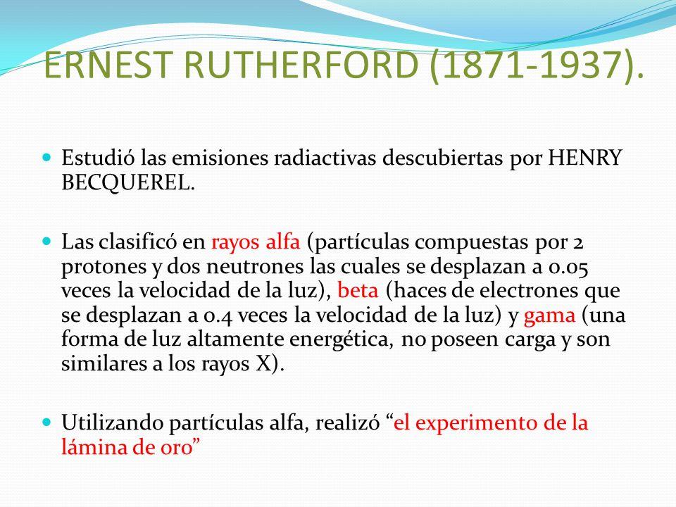 ERNEST RUTHERFORD (1871-1937). Estudió las emisiones radiactivas descubiertas por HENRY BECQUEREL.