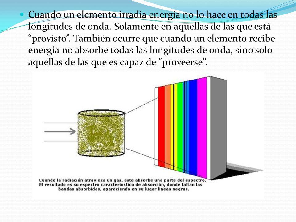 Cuando un elemento irradia energía no lo hace en todas las longitudes de onda.