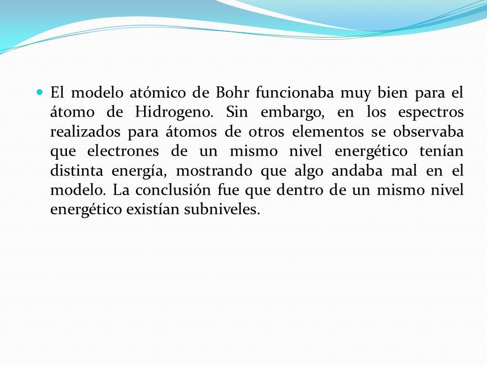 El modelo atómico de Bohr funcionaba muy bien para el átomo de Hidrogeno.