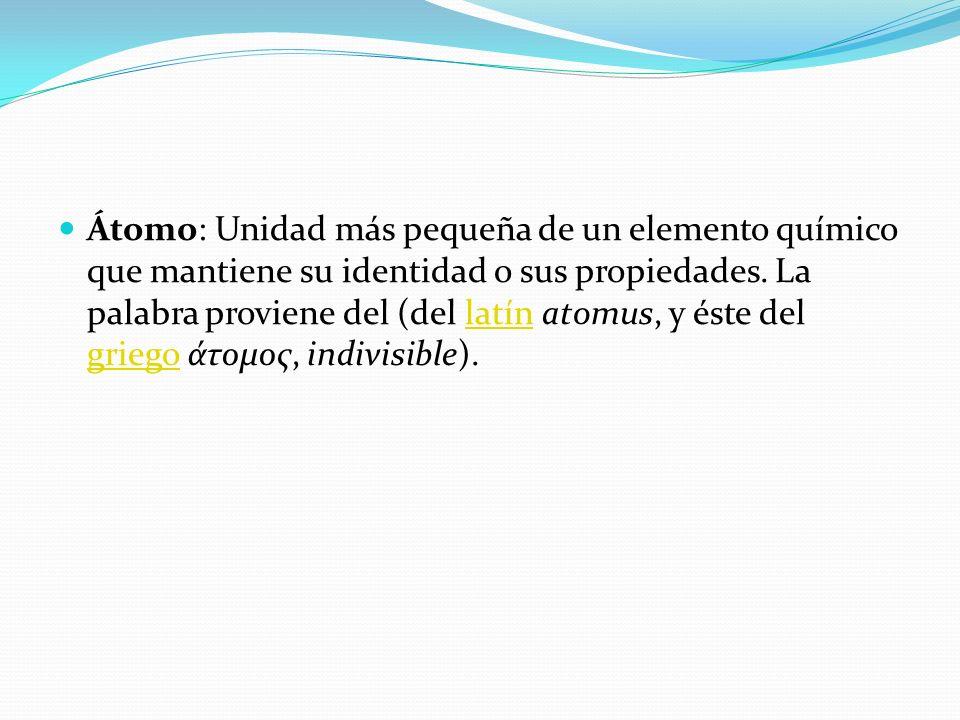 Átomo: Unidad más pequeña de un elemento químico que mantiene su identidad o sus propiedades.