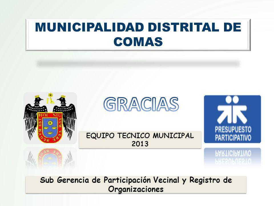 GRACIAS MUNICIPALIDAD DISTRITAL DE COMAS