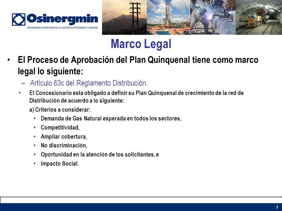 Marco Legal El Proceso de Aprobación del Plan Quinquenal tiene como marco legal lo siguiente: Artículo 63c del Reglamento Distribución.