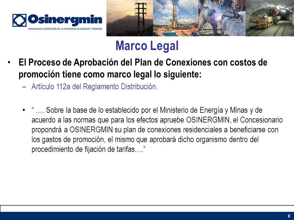 Marco Legal El Proceso de Aprobación del Plan de Conexiones con costos de promoción tiene como marco legal lo siguiente: