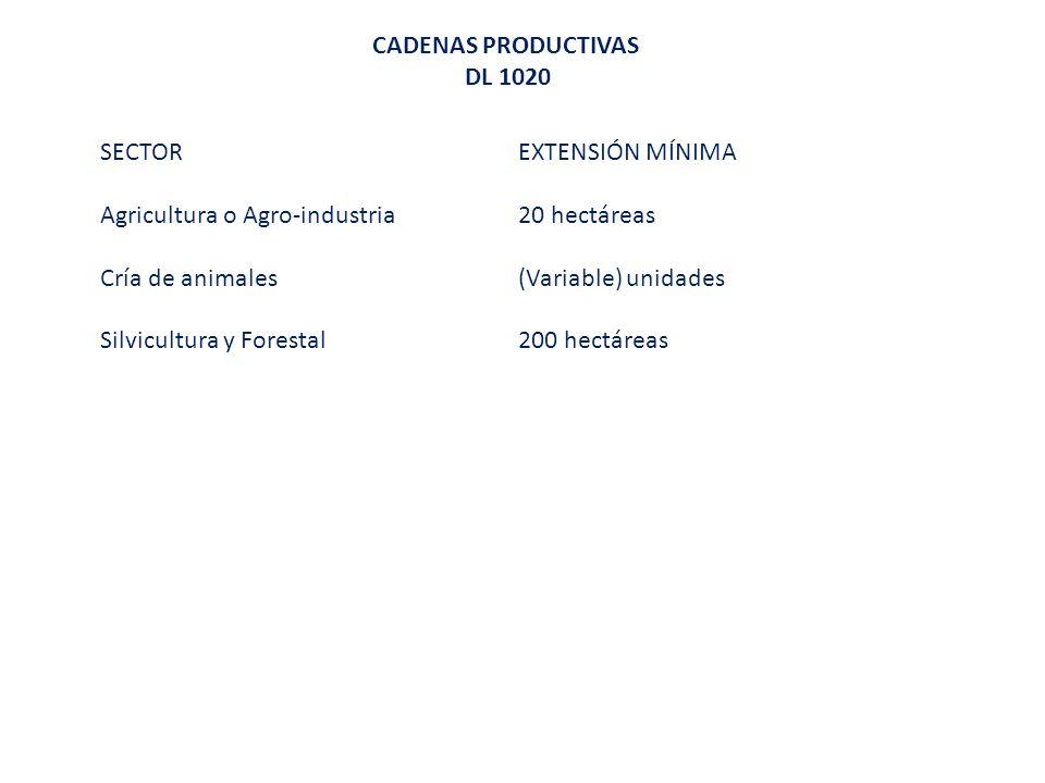 CADENAS PRODUCTIVAS DL 1020. SECTOR EXTENSIÓN MÍNIMA. Agricultura o Agro-industria 20 hectáreas.