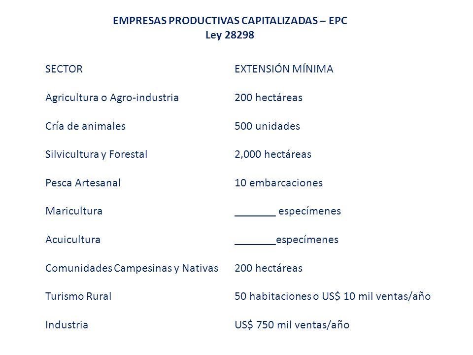 EMPRESAS PRODUCTIVAS CAPITALIZADAS – EPC