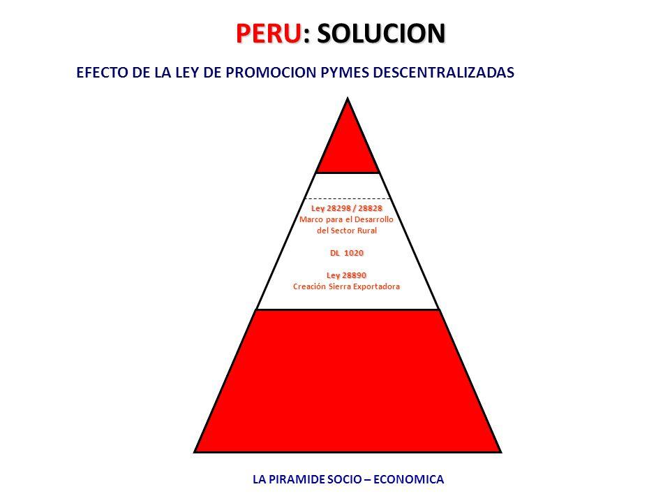 PERU: SOLUCION EFECTO DE LA LEY DE PROMOCION PYMES DESCENTRALIZADAS