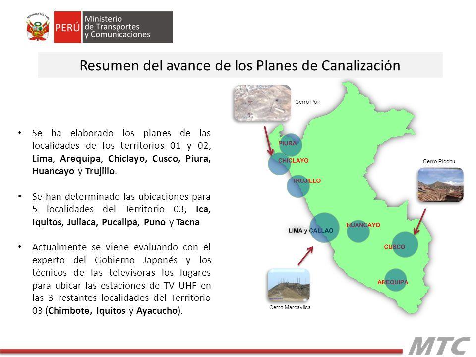 Resumen del avance de los Planes de Canalización