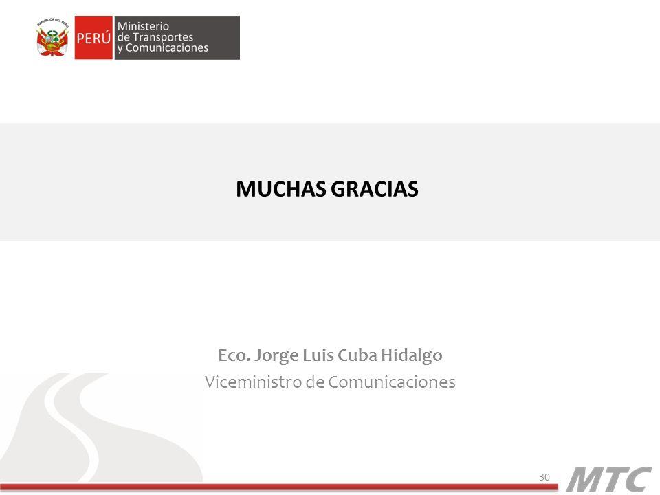 Eco. Jorge Luis Cuba Hidalgo Viceministro de Comunicaciones