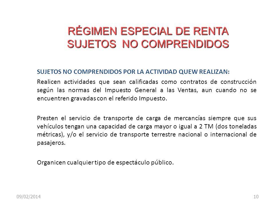 RÉGIMEN ESPECIAL DE RENTA SUJETOS NO COMPRENDIDOS