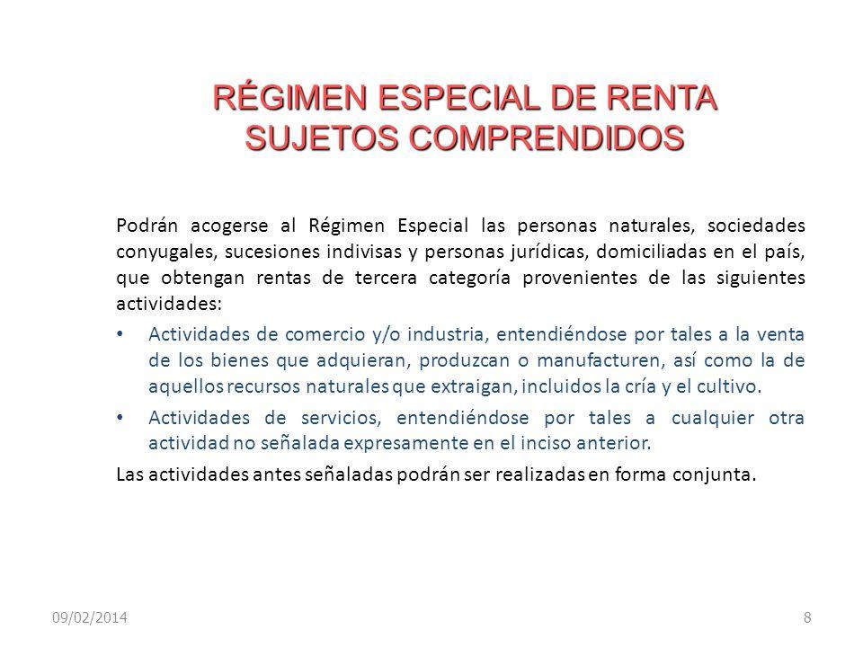 RÉGIMEN ESPECIAL DE RENTA SUJETOS COMPRENDIDOS
