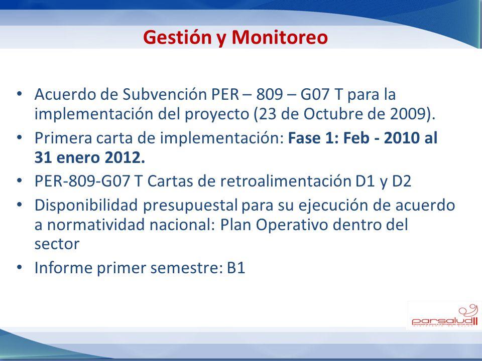 Gestión y Monitoreo Acuerdo de Subvención PER – 809 – G07 T para la implementación del proyecto (23 de Octubre de 2009).