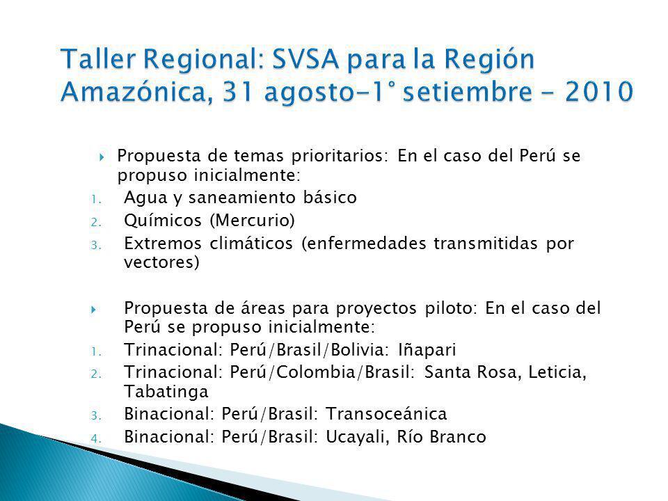 Taller Regional: SVSA para la Región Amazónica, 31 agosto-1° setiembre - 2010