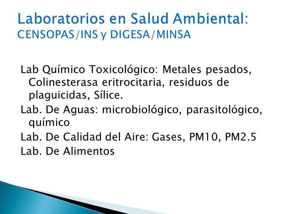 Laboratorios en Salud Ambiental: CENSOPAS/INS y DIGESA/MINSA