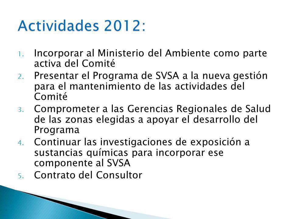 Actividades 2012: Incorporar al Ministerio del Ambiente como parte activa del Comité.