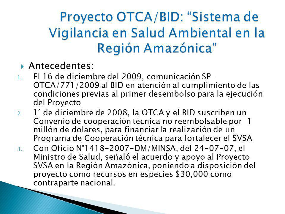 Proyecto OTCA/BID: Sistema de Vigilancia en Salud Ambiental en la Región Amazónica