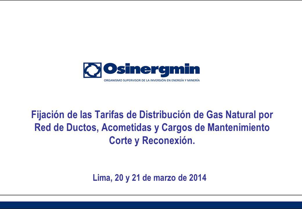 Fijación de las Tarifas de Distribución de Gas Natural por Red de Ductos, Acometidas y Cargos de Mantenimiento Corte y Reconexión.