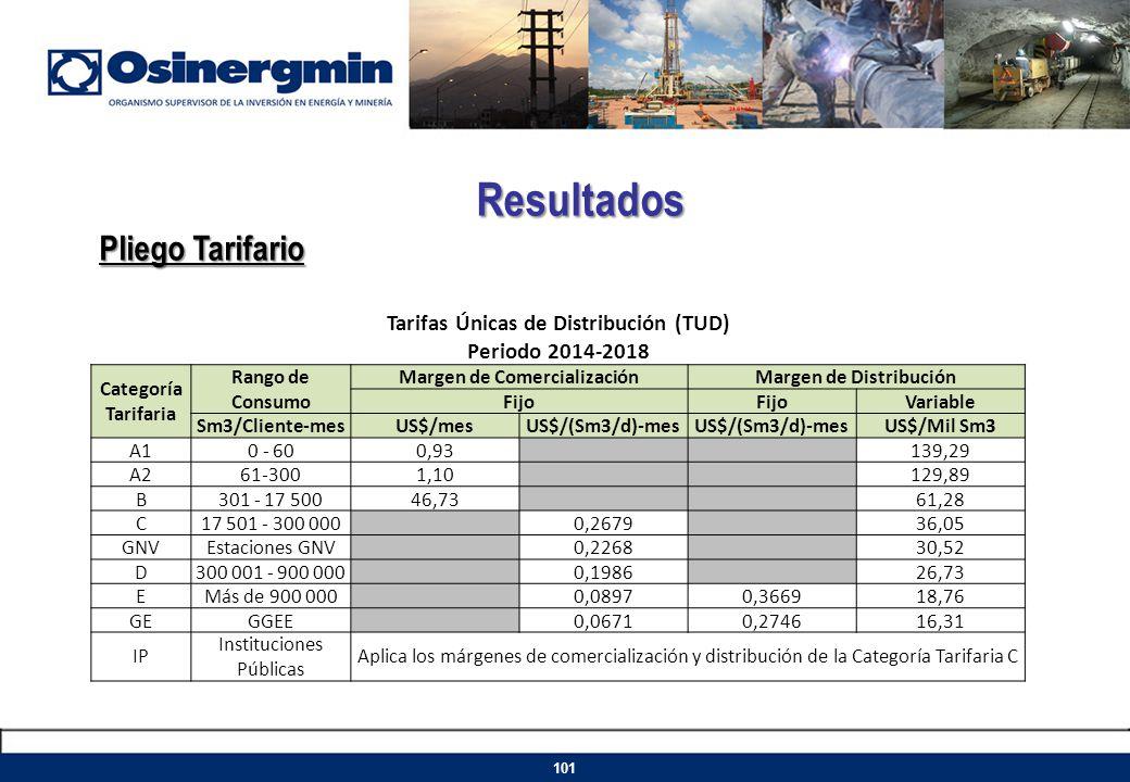 Resultados Pliego Tarifario Tarifas Únicas de Distribución (TUD)
