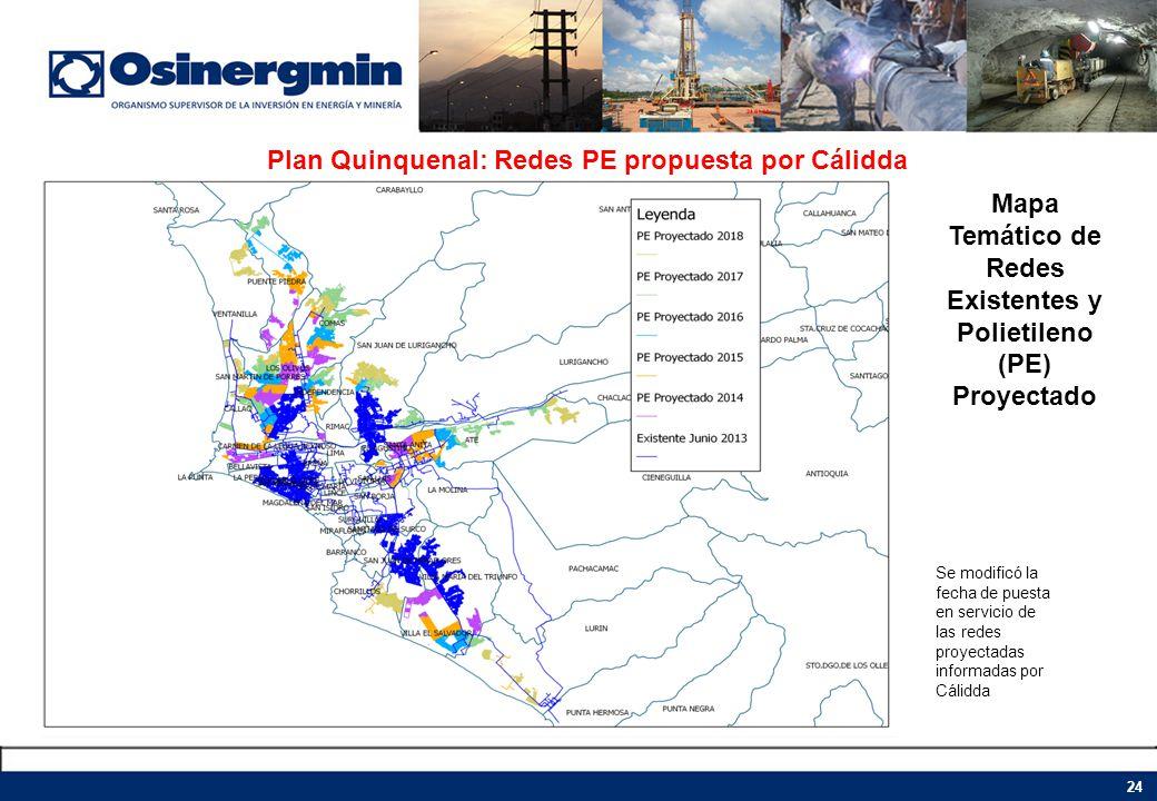 Plan Quinquenal: Redes PE propuesta por Cálidda