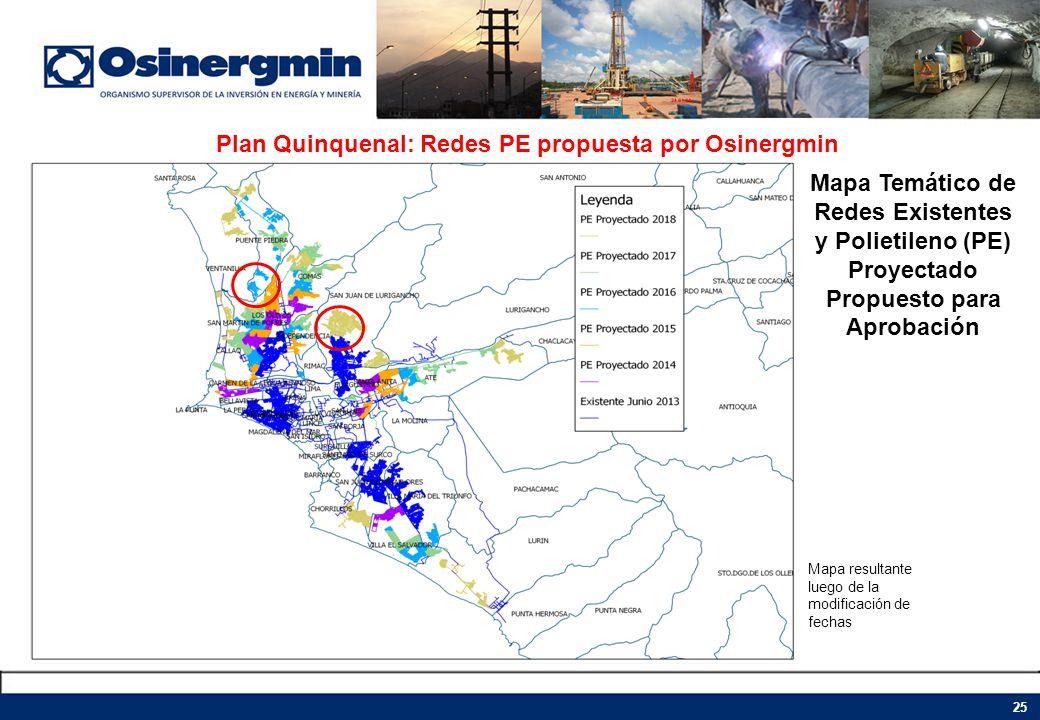 Plan Quinquenal: Redes PE propuesta por Osinergmin