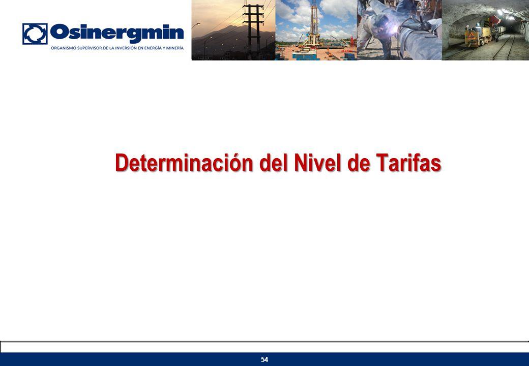 Determinación del Nivel de Tarifas