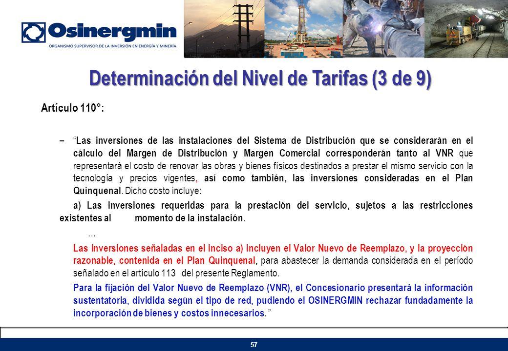 Determinación del Nivel de Tarifas (3 de 9)